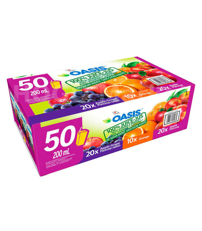 Oasis 100% Juice, Assorted Flavours 200 mL, 50-count